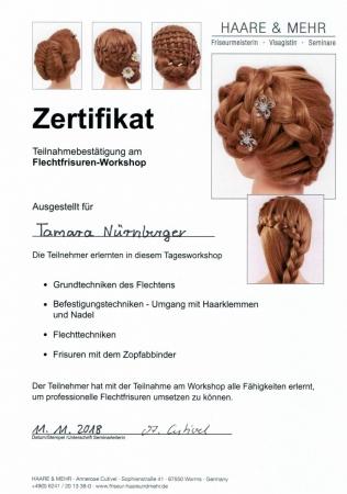 Zertifikat Flechtfrisuren