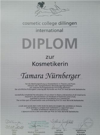 Zertifikat Kosmetikerin